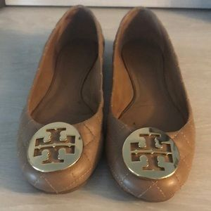 Nude/Tan Tory Burch Quilted Flats